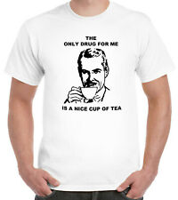 Tea Addict T-Shirt 'The Only Drug For Me Is A Nice Cup Of Tea' Funny Vintage