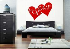 YOU ME LOVE HEART WALL ART QUOTE STICKER DECAL MURAL BEDROOM STENCIL MURAL PRINT