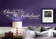 CLASSY AND FABULOUS GIRL QUOTE WALL ART STICKER TRANSFER DECAL MURAL BEDROOM
