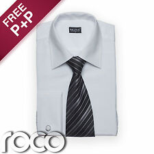 Mens White Wedding Formal High Quality Cheap Smart Shirt & Tie Set for suits