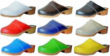 'Marited' Quality Wooden Clogs with Genuine leather all sizes womens/mens