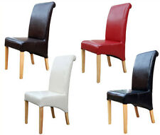 Pair of Harrow leather dining chairs with oak legs 2pcs ** Premium Quality **