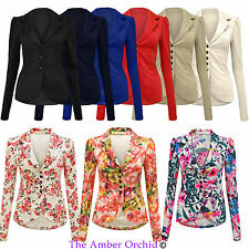 NEW LADIES 5 BUTTON UP PONTE BLAZER BOLD SHOULDER WOMENS JACKET COAT SIZES 8-14