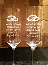 PERSONALISED GLASS CHAMPAGNE FLUTES 2 GLASSES BRIDE & GROOM WEDDING ANNIVERSARY