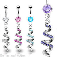 Spiral Swirl CZ Gem Dangle Belly Ring Navel Naval Clear, Pink, Purple, Aqua