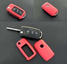 VW SEAT SKODA Remote Flip Key Cover Case Skin Shell Cap Fob Red Protection