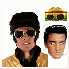 Licensed Elvis Card Mask / Rock Star Wig / Gold Glasses 60s 70s Available