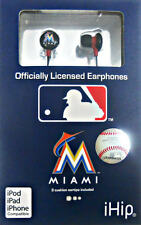 Miami Marlins MLB Licensed ihip Earbud Earphones Works With MP3 ipods iphones