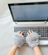 On sale Winter Soft hand knitting rabbit fur Fingerless Half Cuff Gloves elastic
