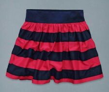 NWT Jrs Sz XS S ABERCROMBIE FITCH Neve Navy Blue Red Striped Gathered Mini Skirt