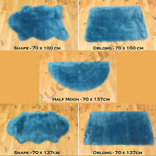 QUALITY PLAIN FLUFFY WASHABLE SOFT FAKE FAUX FUR TEAL BLUE COLOUR SHEEPSKIN RUGS
