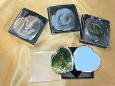 Heart Shaped Ladies Compact with Initials Metal Chrome Color/Mirror/Pouch New