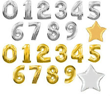 """40"""" LARGE FOIL NUMBER BALLOON 0 - 9 IN GOLD AND SILVER"""