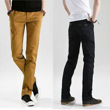 Mens slim back pockets leather decorated leisure pants trousers straight pants