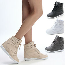 Womens High Top Sneakers Wedge Trainers Shoes US 6~9 / Lady Platform Ankle Boots