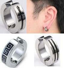 Men Women Clip On Hoop Huggie Stud Earrings,Hip Hop Stainless Steel Silvertone