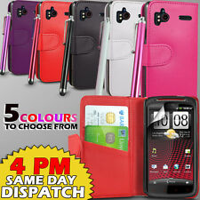 LEATHER WALLET CASE COVER,SCREEN GUARD & STYLUS FOR HTC SENSATION XE