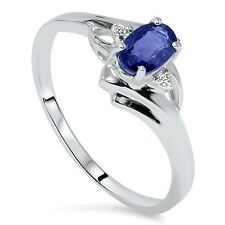 .95CT Oval Blue Sapphire Diamond Ring 14K White Gold