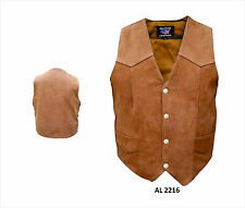 Brown Leather Motorcycle Biker Vest Mens Water Buffalo 4 Snap
