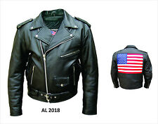 Mens Black Half Belt Classic Motorcycle Biker Jacket with USA Flag on back