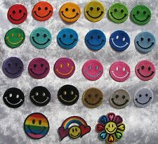 Mini Smiley Face Iron On / Sew On Cloth Patch Badge happy hippy hippie acid rave