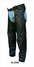 Unisex Lined Traditional Black Leather Chaps with Spandex Inserts