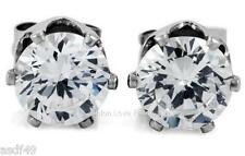 Clear Round CZ Magnetic Clip On Stud Earrings For Mens/Womens 4mm to 10mm