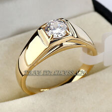 A1-R3087 Men's Solitaire Fashion Band Ring 18KGP use Swarovski Crystal