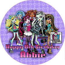 """Monster High 7.5"""" ROUND Cake Topper Rice Paper/Icing 24HR POST!"""