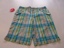 Girls Arizona Blue and Yellow Kiwi Plaid Bermuda Shorts Plus Sizes 12 14 16 New