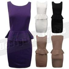 Ladies Womens Peplum Shift Dress Frill Pencil Skirt Bodycon Fitted Stretch Fit
