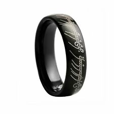 Men Tungsten Carbide Ring Black Lord Of the Rings LOTR Band 7mm P033