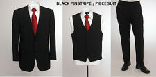 "BNWT SKOPES WoolBlend 3 Piece Black Stripe Suit,Chest 36""to46""Short,Regular&Long"