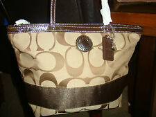 AUTHENTIC COACH SIGNATURE STRIPE OUTLINE C SATEEN TOTE PURSE F19046 / F19428