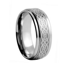 Tungsten Carbide Ring Celtic Knot Design Step Edge Wedding Band 9mm G040