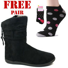 Ladies Womens Casual Comfortable Autumn Winter Ankle Boots Black Suede Side Zip
