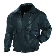 Mens Bomber Black Leather Bomber Biker Jacket Front Snap Pockets
