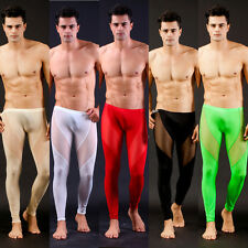 New Mesh Sexy Men's Long Johns Thermal Silk Underwear Clothing Pants W7030