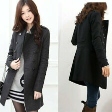 Black/Grey S/M/L Women Winter Double-Breasted Slim Trench Coat Jacket 3683