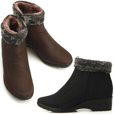 New Womens Fashion Comfort Winter Snow Warm Ankle Boots Shoes Med Heels Nova