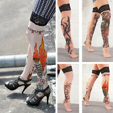Illusion Faux Tattoo Style Sheer Lace-Top Thigh Highs Rockabilly Goth Costume OS