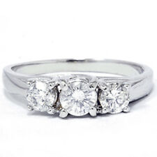 1.00CT Three Stone 3 Diamond Engagement Anniversary Ring 14K White Gold