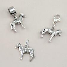 .925 Sterling Silver Horse Pony Charm on Lobster Clasp, Split Ring or Snake Bail