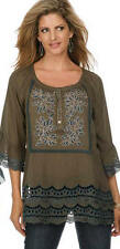 Krista Lee Patina Group Dove Gray Embroidered Beaded Tunic Top Blouse Button Frt