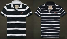 Hollister By abercrombie Polo Shirt Muscle Fit Men's Navy/White Stripe NWT