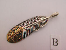 Solid 925 Sterling Silver Feather Pendant Tops. Various Styles & Sizes