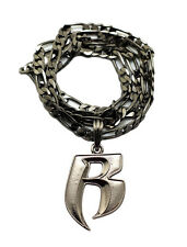 "NEW RUFF RYDER 'R' PENDANT WITH 5mm/24"" FIGARO CHAIN HIP HOP NECKLACE - MSP324"