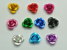 200 Mixed Colour Aluminum Metal Rose Flower Beads 6mm Finding Pick Your Colour