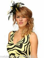 Black Yellow Fascinator Wedding Races Hat Choose any colour satin & feathers
