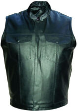 Mens Black SOA Style Leather Motorcycle Biker Vest w Chest Pockets